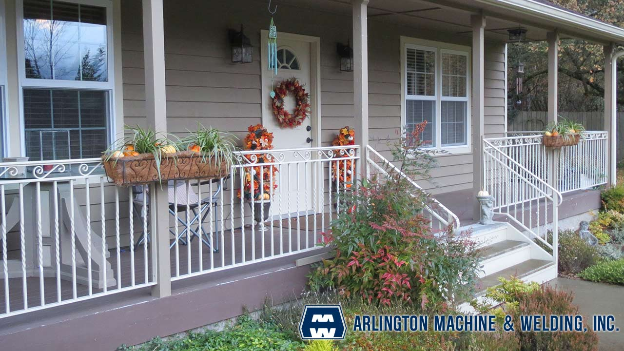 Custom railing designed, fabricated & installed by Arlington Machine & Welding Inc.