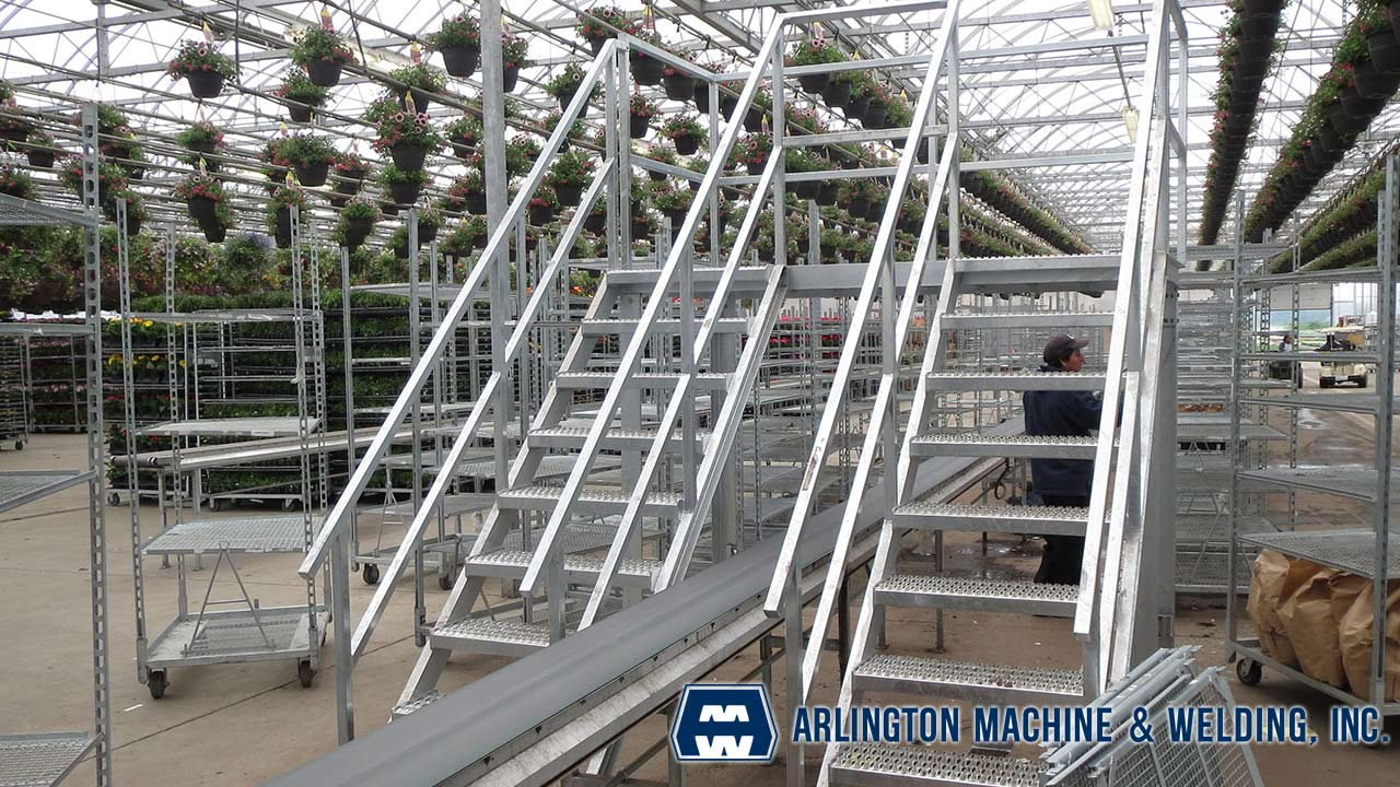 Galvanized stair - designed, fabricated & installed by Arlington Machine & Welding Inc.
