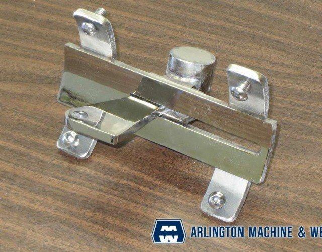 Stainless steel olympic pool lane buoy connector fabricated by Arlington Machine & Welding Inc.